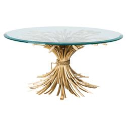 Eichholtz Bonheur Hollywood Regency Gold Iron Round Beveled Glass Coffee Table | Kathy Kuo Home
