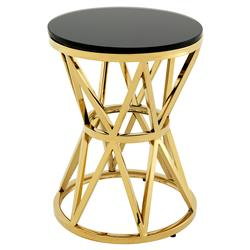 Eichholtz Domingo Modern Classic Gold Black Glass Round Drum Side Table - Small | Kathy Kuo Home