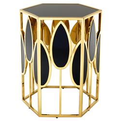 Eichholtz Florian Hollywood Regency  Gold Black Glass Side Table | Kathy Kuo Home