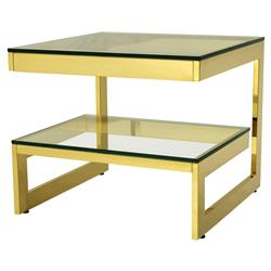 Eichholtz Gamma Hollywood Regency Gold Tiered Square Side End Table | Kathy Kuo Home