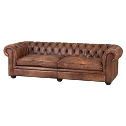 Eichholtz Gymnasium Modern Classic Tobacco Leather Antique Brass Tufted Sofa - Small | Kathy Kuo Home