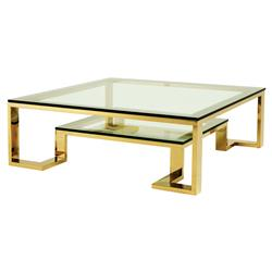 Eichholtz Huntington Hollywood Regency Glass Top 2 Tier Gold Square Coffee Table | Kathy Kuo Home