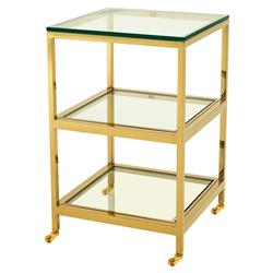 Eichholtz Hutton Hollywood Regency Gold Tiered Square Side End Table | Kathy Kuo Home
