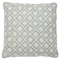 Eichholtz June Coastal Sky Blue Ivory Diamond Tile Decorative Pillow- 20x20 | Kathy Kuo Home