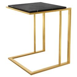 Eichholtz Modern Classic Gold Black Marble Cocktail Side Table | Kathy Kuo Home