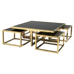 Eichholtz Monogram Modern Classic Black Glass Square Nesting Gold Coffee Table | Kathy Kuo Home