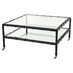 Eichholtz Mullins Global Bazaar Beveled Glass Top Square Black Coffee Table | Kathy Kuo Home