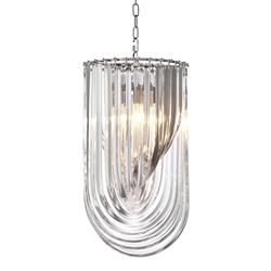Eichholtz Murano Modern Classic Clear Acrylic Iron Chandelier - Small | Kathy Kuo Home