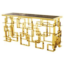Eichholtz Spectre Hollywood Regency Brown Marble Top Gold Rectangular Console Table | Kathy Kuo Home