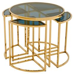 Eichholtz Vicenza Hollywood Regency Gold Round Nesting Side End Table - Set of 5 | Kathy Kuo Home