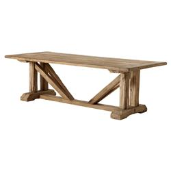 Eichholtz Wymore Rustic Tan Brown Wood Buttress Trestle Dining Table | Kathy Kuo Home