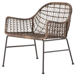 Elani Bazaar Woven Wicker Outdoor Club Chair | Kathy Kuo Home
