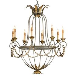 Elegance Open frame Gold Leaf 8 Light Chandelier | Kathy Kuo Home