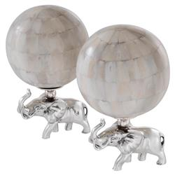 Elephanti Modern Classic Natural Bone Nickel Sculpture - Set of 2 | Kathy Kuo Home