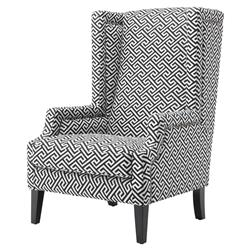 Eleventy Modern Classic Black White Greek Key Patterned Club Chair | Kathy Kuo Home
