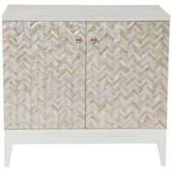 Eli Coastal Beach Herringbone Capiz Shell 2 Door Chest Cabinet | Kathy Kuo Home