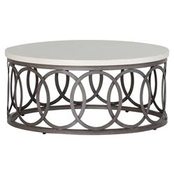 Ella Oval Interlock Ivory Outdoor Coffee Table | Kathy Kuo Home