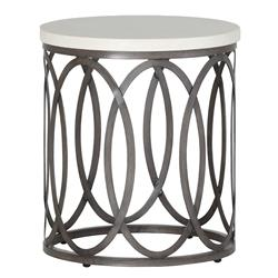 Ella Oval Interlock Ivory Outdoor End Table | Kathy Kuo Home