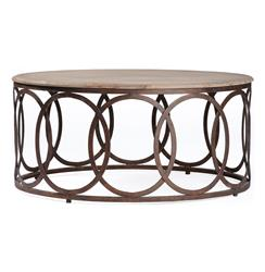 Ella Rustic Oak Interlocking Circle Coffee Table | Kathy Kuo Home