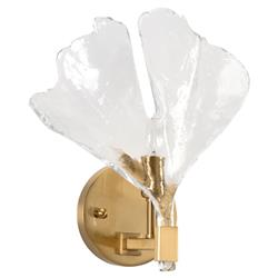 Ellington Global Bazaar Clear Glass Gingko Leaf Antique Brass Accent Wall Sconce | Kathy Kuo Home