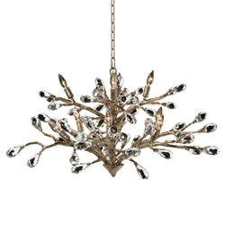 Elmsley Modern Brushed Gold Branch Crystal Drop Chandelier | Kathy Kuo Home