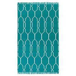 Elodie Modern Teal Trellis Outdoor Rug - 3'6x5'6 | Kathy Kuo Home