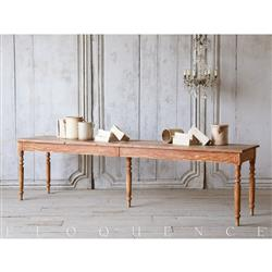 Eloquence Antique French Country Brown Pine Drapery Table 1900 | Kathy Kuo Home