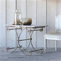 Eloquence Antique French Country Marble White Iron Scroll Table | Kathy Kuo Home