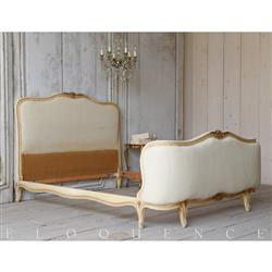 Eloquence® Antique French Louis XV Cream Gold Bed 1910 | Kathy Kuo Home