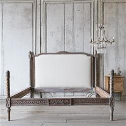 Eloquence® Antique French Maroon Carved Upholstered Bed 1940 | Kathy Kuo Home