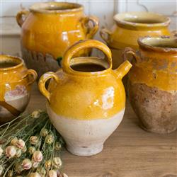 Eloquence Antique French Yellow Terracotta Confit Pots 1890 | Kathy Kuo Home