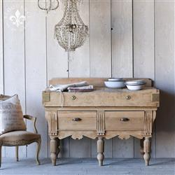 Eloquence Antique Oak Brass Butcher Console Table | Kathy Kuo Home