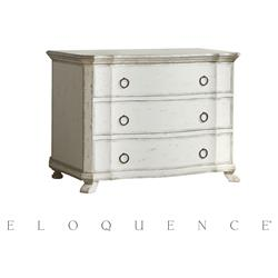 Eloquence Antique White Silver Petit Bordeaux Commode | Kathy Kuo Home