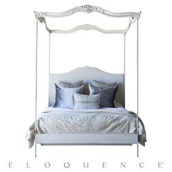 Eloquence® Aria Fog Linen Stone Canopy Queen Bed | Kathy Kuo Home