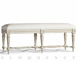 Eloquence® Constance Bench in Weathered White and White Linen | Kathy Kuo Home