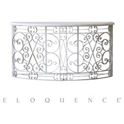 Eloquence Distressed White Iron Balcony Console Table | Kathy Kuo Home