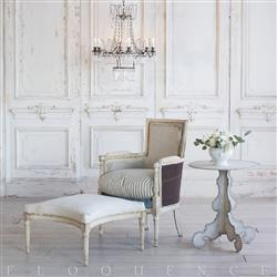 Eloquence French Country Style Antique Bergere and Ottoman: 1900 | Kathy Kuo Home