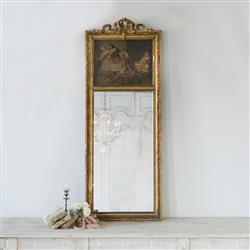 Eloquence French Country Style Antique Painted Trumeau Mirror: 1870 | Kathy Kuo Home