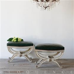 Eloquence French Country Style Pair of Antique Stools | Kathy Kuo Home