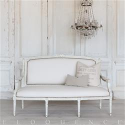 Eloquence® French Vintage Mint Faux Ivory Leather Settee | Kathy Kuo Home
