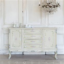 Eloquence® French Vintage Sage Handpainted Floral Wood Sideboard | Kathy Kuo Home