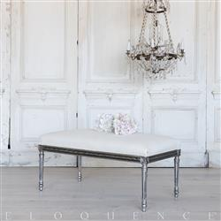 Eloquence® French Vintage Silver Pewter Wood Upholstered Bench | Kathy Kuo Home
