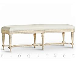 Eloquence® Grande Constance Bench Weathered White Frost Leather | Kathy Kuo Home