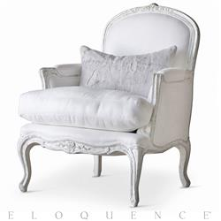 Eloquence® La Belle Bergere in Silver Antique White Two-Tone | Kathy Kuo Home