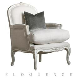 Eloquence® La Belle Gesso Oyster Highlight Bergere Armchair | Kathy Kuo Home
