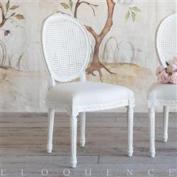 Eloquence® Louis Cane Dining Chair in Antique White | Kathy Kuo Home