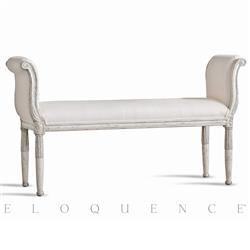 Eloquence® Mademoiselle Bench in Silver Antique White Two-Tone | Kathy Kuo Home