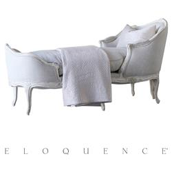 Eloquence Marie Antoinette Chaise in Weathered White | Kathy Kuo Home