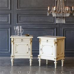 Eloquence® Pair of Vintage Gilt Garland Nightstands: 1940 | Kathy Kuo Home