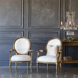 Eloquence® Pair of Vintage Gold Acanthus Armchairs: 1940 | Kathy Kuo Home